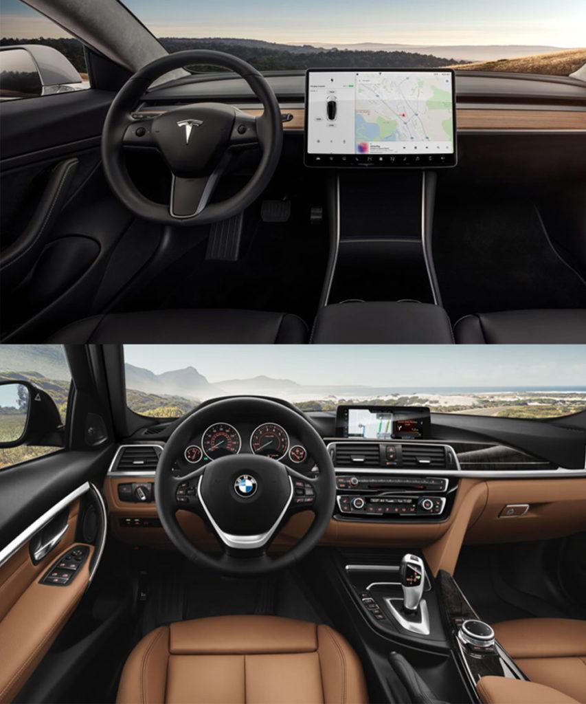 Tesla Model 3 Interior vs BMW