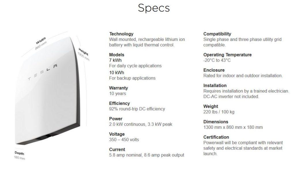 Tesla Powerwall 1 Specs
