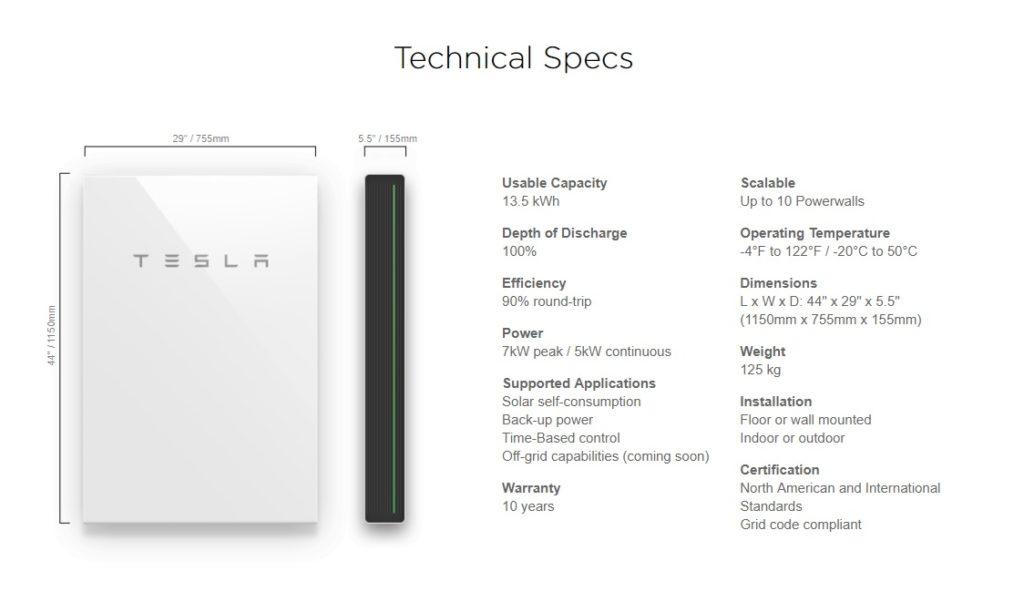 Tesla Powerwall 2 Specs